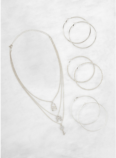 Layered Charm Necklace with Hoop Earrings,SILVER,large