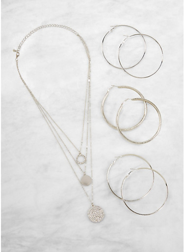 Layered Charm Necklace and Hoop Earrings Set,SILVER,large