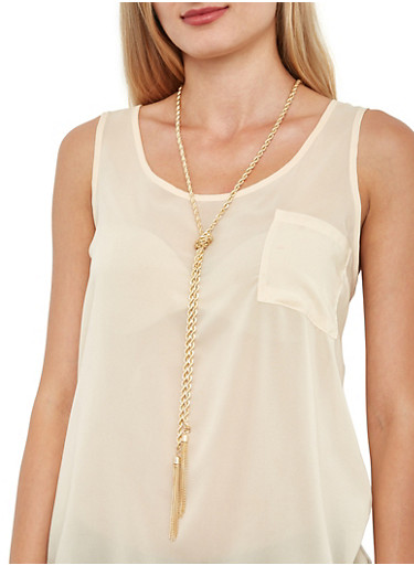 Knotted Metallic Tassel Necklace with Earrings,GOLD,large