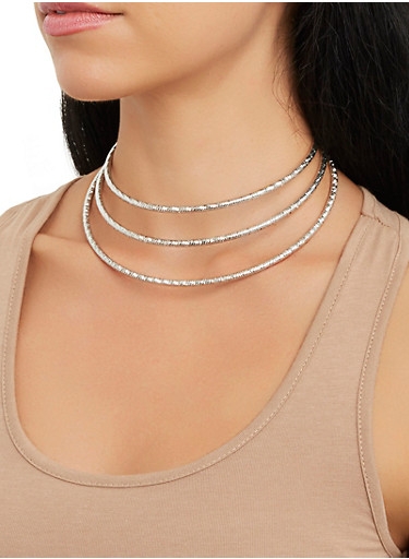 Metallic Collar Necklace with Cuff Bracelet and Hoop Earrings,SILVER,large