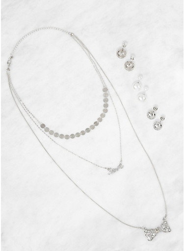 Layered Charm Necklace and Reversible Stud Earrings,SILVER,large