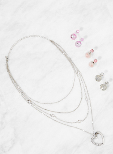 Layered Necklace with Reversible Earring Trio,SILVER,large