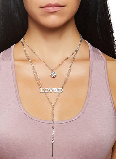Layered Charm Necklace and Stud Earrings Set,SILVER,large