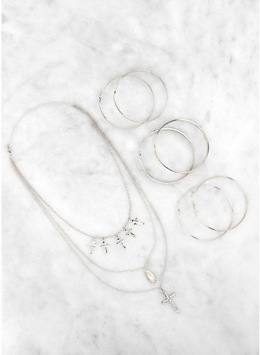 Oversized Hoop Earring Trio with Layered Cross Necklace,SILVER,large