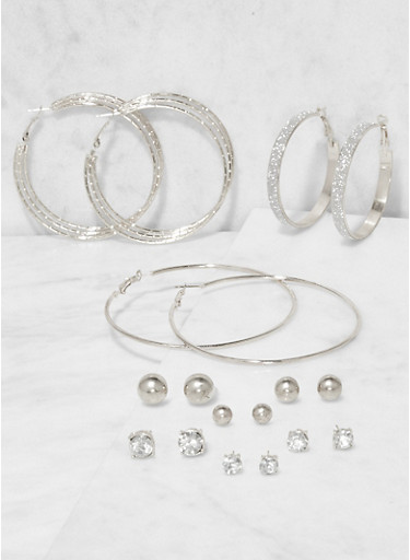 Set of 9 Assorted Stud and Hoop Earrings,SILVER,large