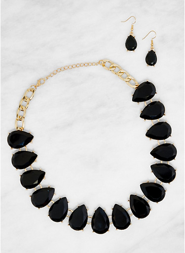 Gem Teardrop Collar Necklace with Earrings,BLACK,large