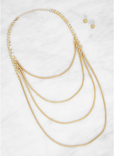 Round Metallic Layered Necklace and Earrings,GOLD,large