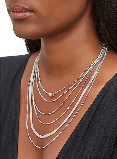 Metallic Beaded Layered Necklace with Earrings,SILVER,large