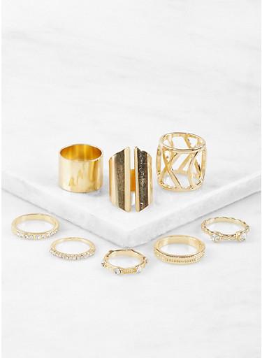Assorted Metallic Rings Set,GOLD,large