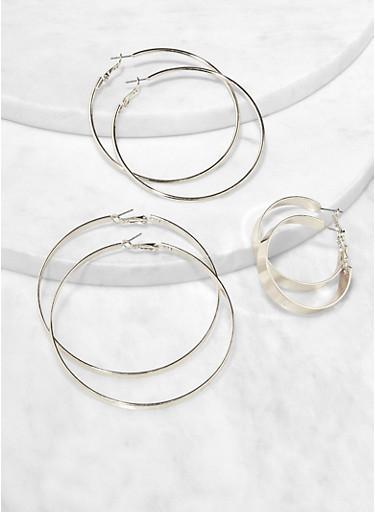 Trio of Metallic Hoop Earrings,SILVER,large