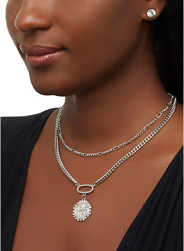 Religious Medallion Necklace with Stud Earrings,SILVER,large