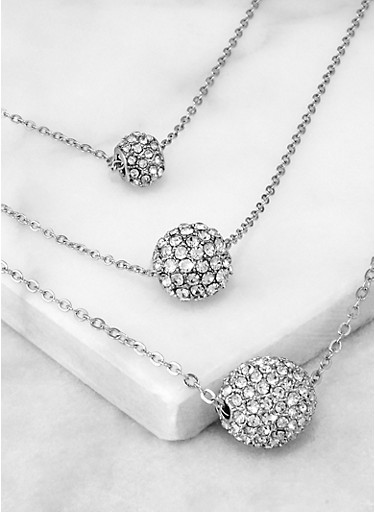 Rhinestone Ball Charm Layered Chain Necklace,SILVER,large