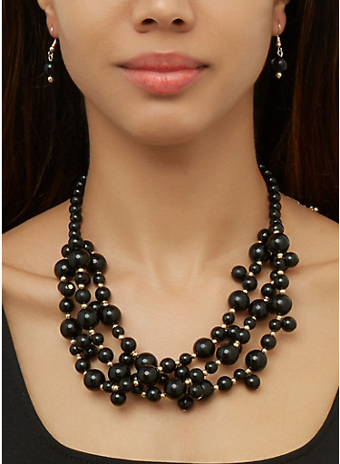 Beaded Necklace and Drop Earrings   3138074982235,BLACK,large