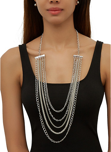 Choker Metallic Layered Necklaces with Stud Earrings,SILVER,large