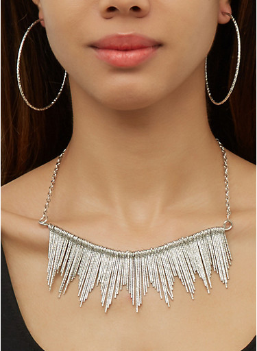 Textured Stick Fringe Necklace with Cuff and Hoop Earrings,SILVER,large
