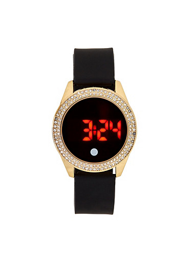 Rhinestone Bezel Digital Watch,BLACK,large