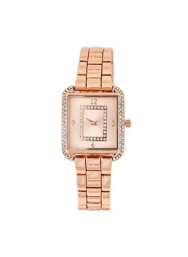 Rhinestone Metallic Square Watch,ROSE,large