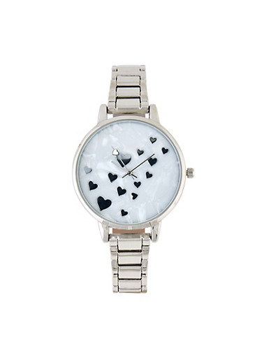 Mini Heart Face Metallic Link Watch,SILVER,large