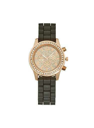 Glitter Face Silicone Watch,BLACK,large