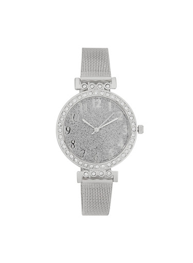 Glitter Face Metallic Mesh Strap Watch,SILVER,large