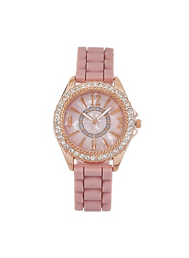 Rhinestone Bezel Watch,MAUVE,large