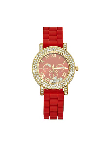 Rhinestone Bezel Silicone Watch,RED,large