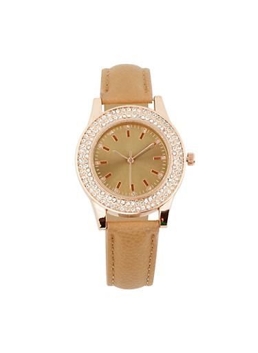 Rhinestone Bezel Faux Leather Watch,TAN,large