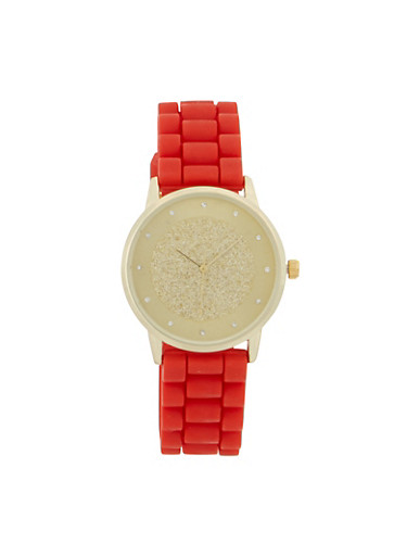 Glitter Face Silicone Strap Watch,RED,large