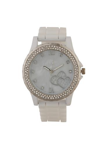 Heart Rhinestone Silicone Watch,WHITE,large