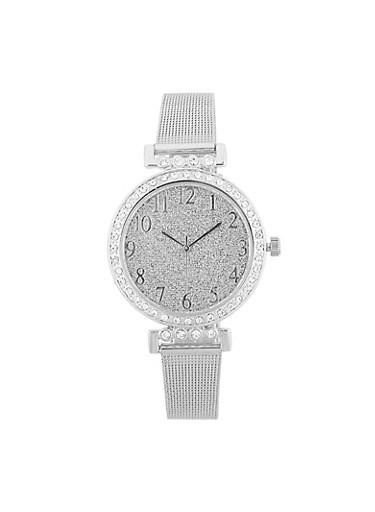 Glitter Face Metallic Mesh Strap Watch,SILVER,large