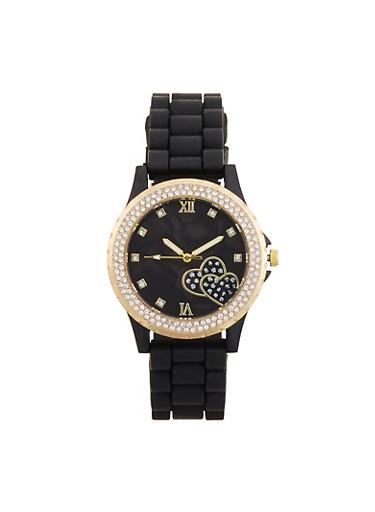 Rhinestone Heart Detail Silicone Watch,BLACK,large