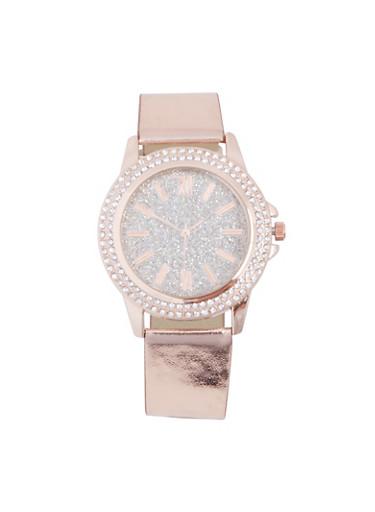 Glitter Rhinestone Watch,ROSE,large