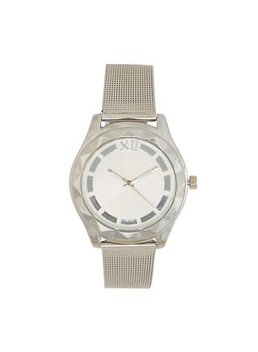 Metallic Mesh Strap Watch,SILVER,large