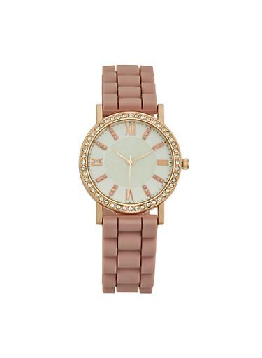Rhinestone Bezel Rubber Strap Watch,ROSE,large