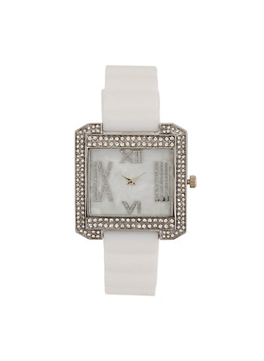 Roman Numeral Rhinestone Square Watch,WHITE,large
