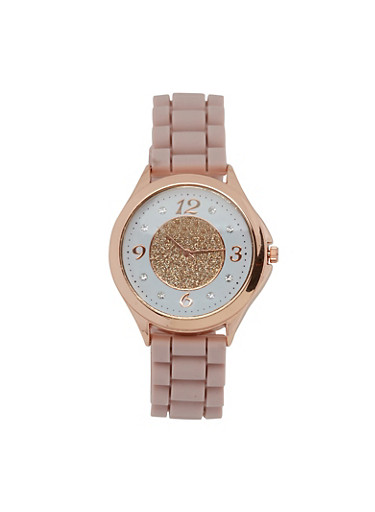 Glitter Face Rubber Watch,PINK,large