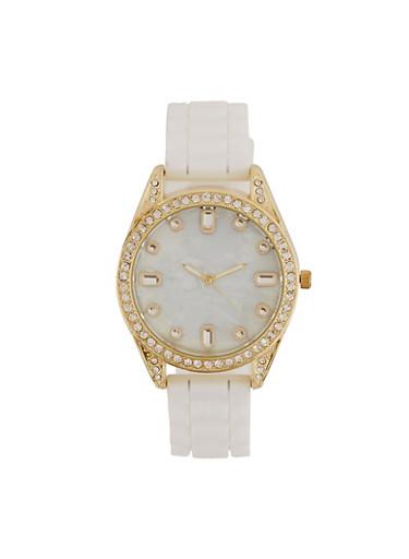 Rhinestone Bezel Silicone Watch,WHITE,large