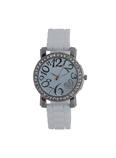 Rhinestone Glitter Heart Rubber Strap Watch,WHITE,large