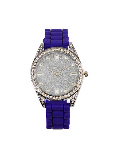 Glitter Silicone Strap Watch,PURPLE,large