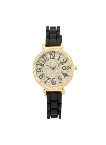 Glitter Rhinestone Silicone Watch,BLACK,large