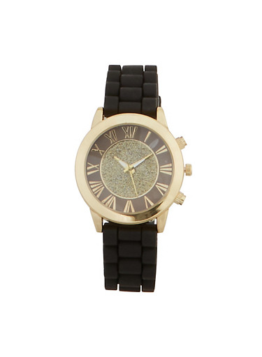 Glitter Face Silicone Watch | 3140071433361,BLACK,large