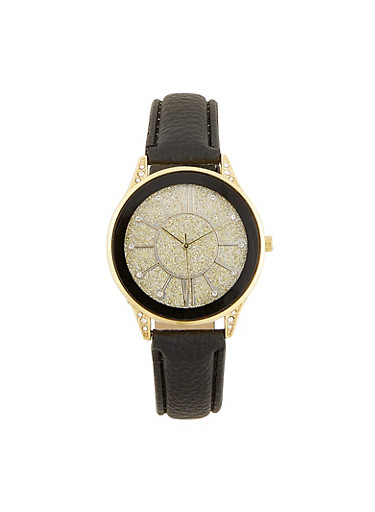 Glitter Face Faux Leather Watch,BLACK,large