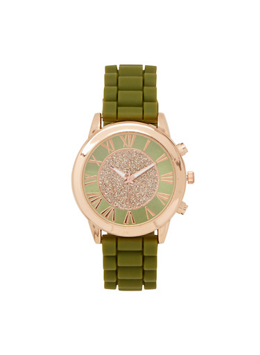 Silicone Strap Metallic Watch,OLIVE,large