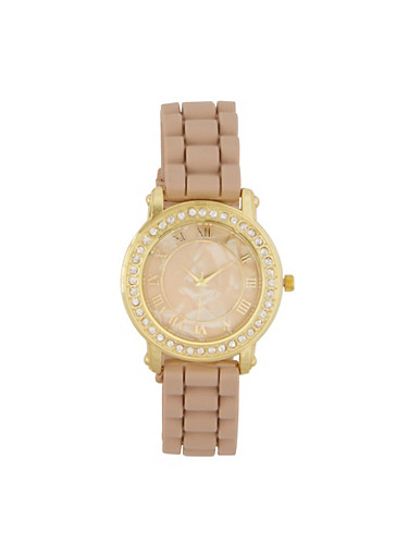 Marbled Face Rhinestone Bezel Watch,TAN,large