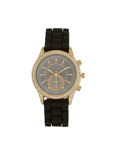 Rubber Strap Rhinestone Bezel Watch,BLACK,large
