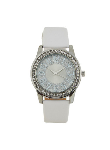 Glitter Face Faux Leather Watch | 3140071435153,WHITE,large