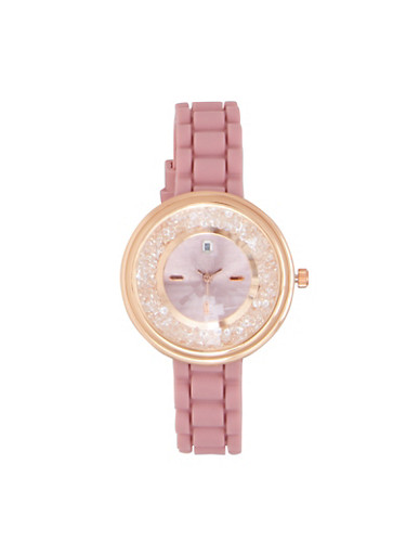 Jeweled Face Rubber Strap Watch,PURPLE,large