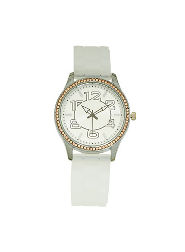 Silicone Strap Metallic Watch,IVORY,large