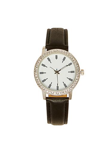 Rhinestone Bezel Watch | 3140071436631,BLACK,large