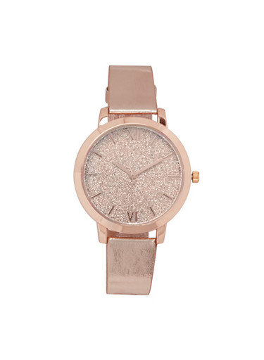 Faux Leather Strap Glitter Watch,ROSE,large